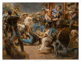 Fight At The Watering Hole Prints by Andy Thomas