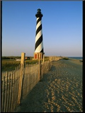 Cape Hatteras Lighthouse with Surrounding Sand Fence Mounted Photo by Steve Winter