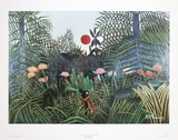 Jungle Scene with Setting Sun Poster by Henri Rousseau
