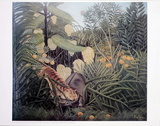 The Jungle, Tiger Attacking a Buffalo Posters by Henri Rousseau