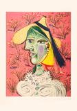 Femme au Chapeau de Paille Sur Fond Fleuri Samletrykk av Pablo Picasso