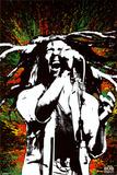 Bob Marley tegen achtergrond van verfspatten in rasta kleuren Foto