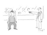 Man points remote control at another in an execution chair as a crowd look… - Cartoon Premium Giclee Print by Arnie Levin