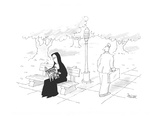 Man walking by looks at nun who is reading a  magazine entitled: 'BRIDE OF… - Cartoon Premium Giclee Print by Jack Ziegler