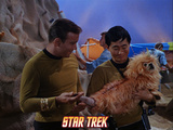 Star Trek: The Original Series, Captain Kirk and Sulu  with an Alien Dog Rhylo Photo