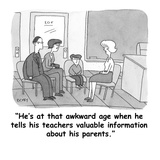 """He's at that awkward age when he tells his teachers valuable information …"" - Cartoon Premium Giclee Print by Peter C. Vey"