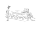 Woman staring at the message atop a coffin: 'View The Deceased $2.50.' - Cartoon Premium Giclee Print by Mick Stevens