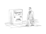 Man dressed in a business suit walking by a vending machine selling 'Cojon - Cartoon Premium Giclee Print by Mick Stevens