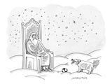 God sits in his throne and plays fetch with his dog, who has just brought … - New Yorker Cartoon Premium Giclee Print by Mick Stevens