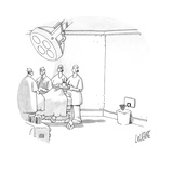 In an operating room there is a basketball hoop above the trash can. - Cartoon Premium Giclee Print by Glen Le Lievre