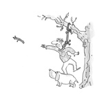 Man standing on dog with noose around his neck, throws a fetching stick so… - Cartoon Premium Giclee Print by Arnie Levin