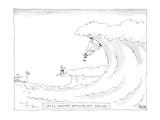 Surfer witnesses Jesus walking on waves in Malibu. - Cartoon Premium Giclee Print by Jack Ziegler