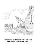 """Anchored on the far side, we have the oldest ship in the fleet."" - Cartoon Premium Giclee Print by Mike Twohy"