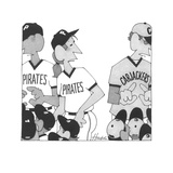Two baseball teams side by side. One is named 'Pirates' and the other, 'Ca… - Cartoon Premium Giclee Print by William Haefeli