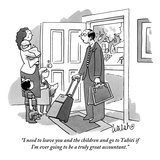 """""""I need to leave you and the children and go to Tahiti if I'm ever going t…"""" - New Yorker Cartoon Premium Giclee Print by Liam Walsh"""