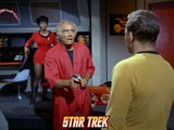 Star Trek: The Original Series, Uhura in Back and Another with a Phaser Held on Captain Kirk Prints