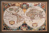 Antique Map, Geographica, Ca. 1630 Framed Giclee Print by Henricus Hondius