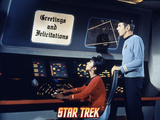 "Star Trek: The Original Series, Uhura and Spock ""Grettings and…"" Poster"