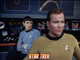Star Trek: The Original Series, Captain James T. Kirk, Spock in the Background with Arms Crossed Photo