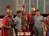 "Star Trek: The Original Series, Dr. McCoy and Mr. Spock in ""Bread and Circuses"" Photo"