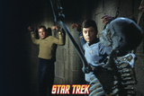 "Star Trek: The Original Series, Captain Kirk and Dr. McCoy in Shackles with a Skeleton in ""Catspaw"" Photo"