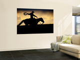A Silhouetted Cowboy Riding Alone a Ridge at Sunset in Shell, Wyoming, USA Kunst af Joe Restuccia III
