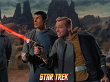 Star Trek: The Original Series, Mr. Spock and Starfleet Member Firing Phaser Photo