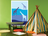Blue Giraffe Plains Prints by  Avalisa