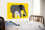 Yellow Elephants Print by  Avalisa