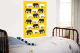 Yellow Elephant Pattern Prints by  Avalisa