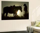 Cowboy With His Horse at Sunset, Ponderosa Ranch, Oregon, USA Poster von Josh Anon