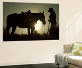 Cowboy With His Horse at Sunset, Ponderosa Ranch, Oregon, USA Prints by Josh Anon