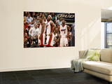 Charlotte Bobcats v Miami Heat: Chris Bosh, LeBron James and Dwyane Wade Prints by Issac Baldizon