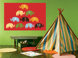 Red Counting Elephants Posters by  Avalisa