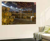 Shafts of Light in Barrel Room of Montevina Winery, Shenandoah Valley, California, USA Posters by Janis Miglavs