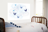 Blue Butterfly Trails Posters by  Avalisa
