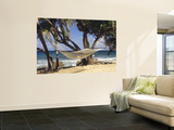 Hammock Tied Between Trees, North Shore Beach, St Croix, US Virgin Islands Print by Alison Jones