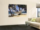 Hammock Tied Between Trees, North Shore Beach, St Croix, US Virgin Islands Print by Alison Jones