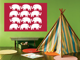 Red Elephant Family Poster by  Avalisa