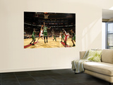 Boston Celtics v Toronto Raptors: Andrea Bargnani and Shaquille O'Neal Print by Ron Turenne
