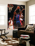 Detroit Pistons v Miami Heat: Jason Maxiell, Chris Bosh and LeBron James Poster by Victor Baldizon