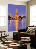 Wat Arun, Buddhist Temple Reflects in River at Dusk, Bangkok, Thailand Posters