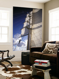 Crew Member Climbing Mast of the Star Clipper, Caribbean Prints by Dave Bartruff