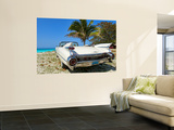 Classic 1959 White Cadillac Auto on Beautiful Beach of Veradara, Cuba Poster by Bill Bachmann