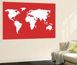 Carte du monde en rouge Posters par  Avalisa