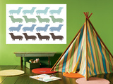Blue Daschund Family Poster by  Avalisa
