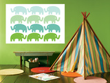 Green Elephant Family Art by  Avalisa