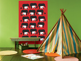 Red Elephant Pattern Prints by  Avalisa