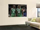 Boston Celtics v Cleveland Cavaliers: Kevin Garnett and Shaquille O'Neal Print by David Liam Kyle