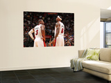 Charlotte Bobcats v Miami Heat: LeBron James and Dwyane Wade Prints by Victor Baldizon